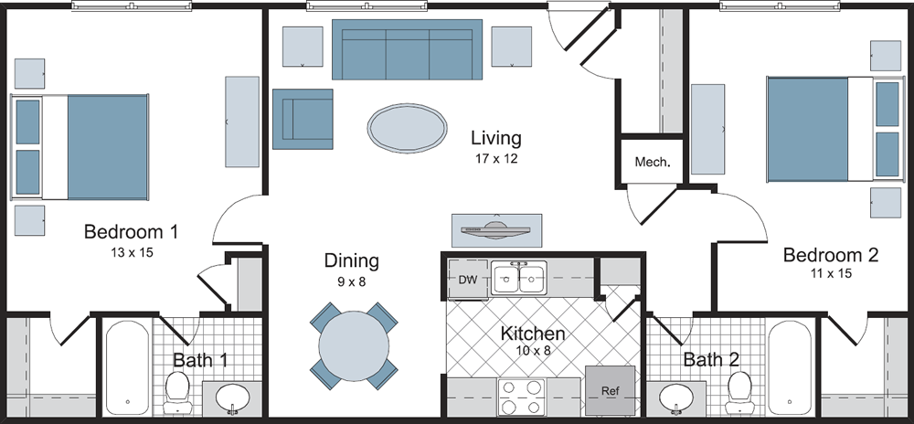 Two Bedroom / Two Bath - 1,050 Sq.Ft.*