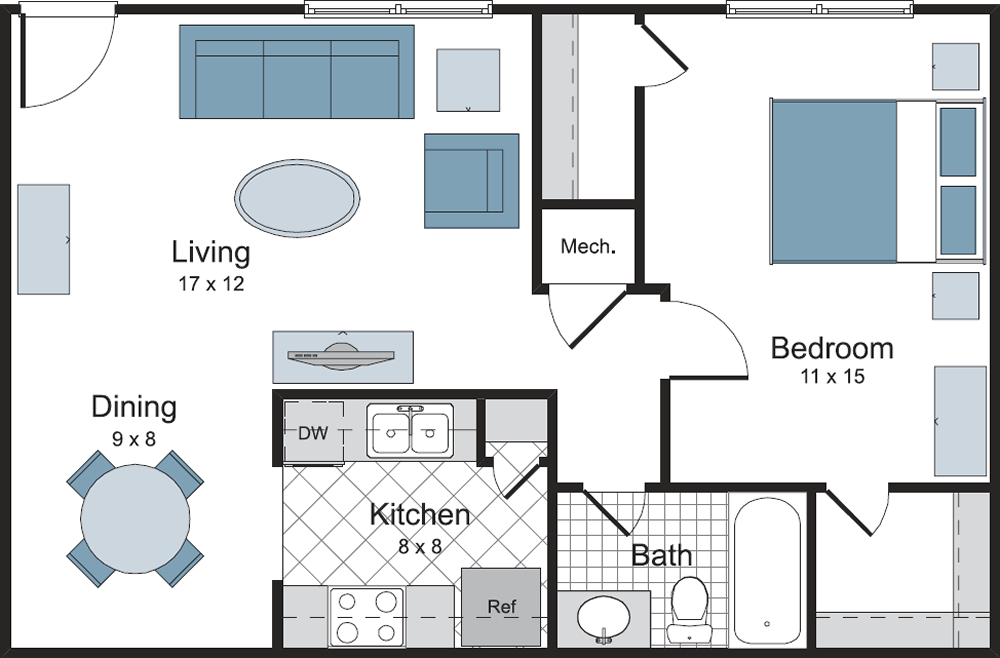 One Bedroom / One Bath - 750 Sq.Ft.*
